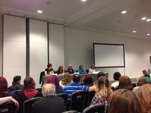 Photo of Marieke at the Fantasy and Medievalism panel at LonCon 3, 2014.