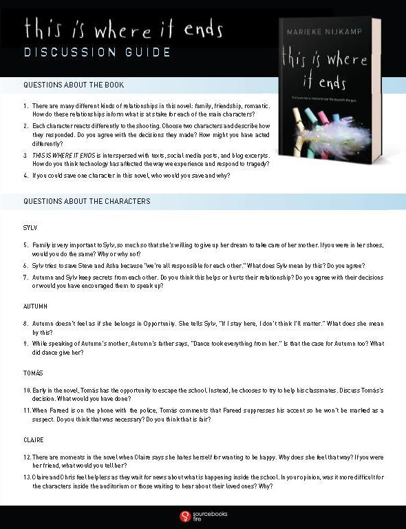 First page of the TIWIE discussion guide, showing questions about the book and questions about the characters.