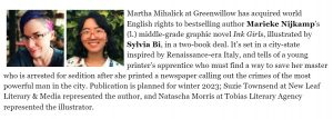 Publishers Weekly announcement for Ink Girls. The same text has been added to the page.
