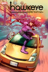 Cover issue #1 of Hawkeye, featuring Kate on the top of a car.